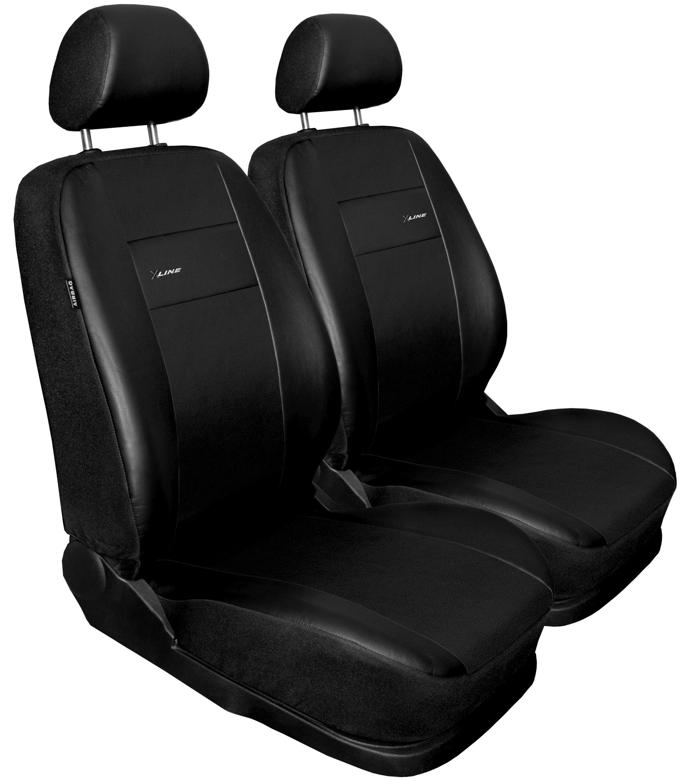 Autopotahy X-LINE kožené, sada pro dvě sedadla, černé