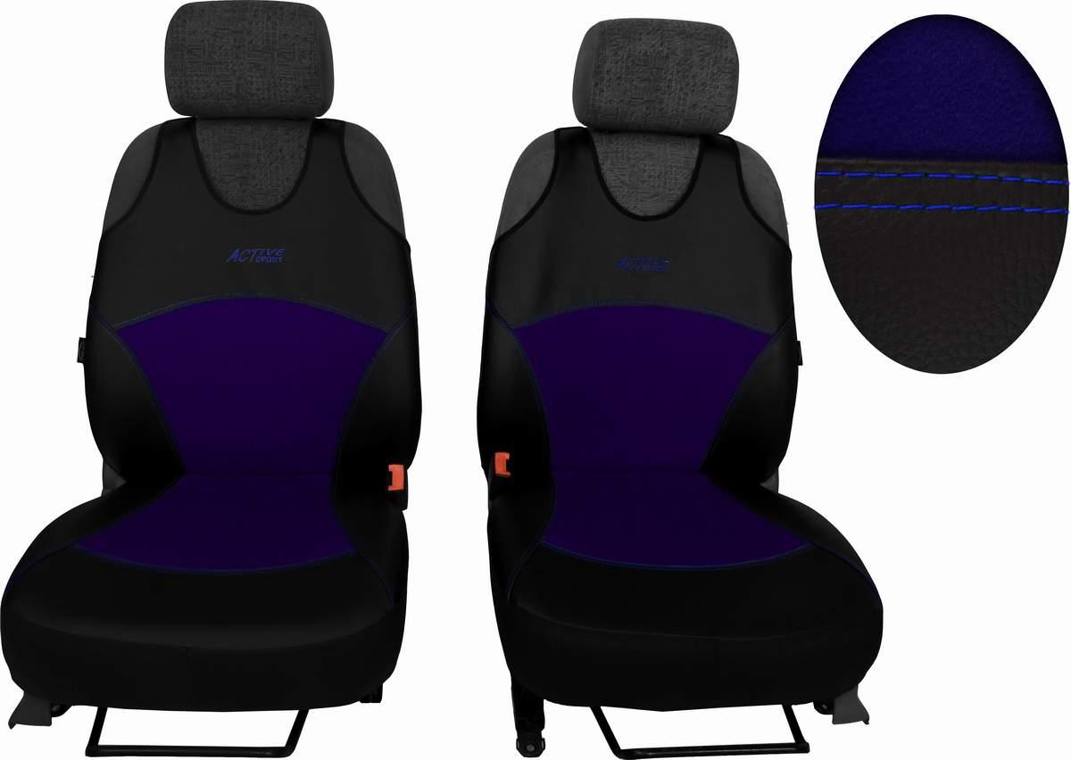 Autopotahy Active Sport kožené s alcantarou, sada pro dvě sedadla, modré