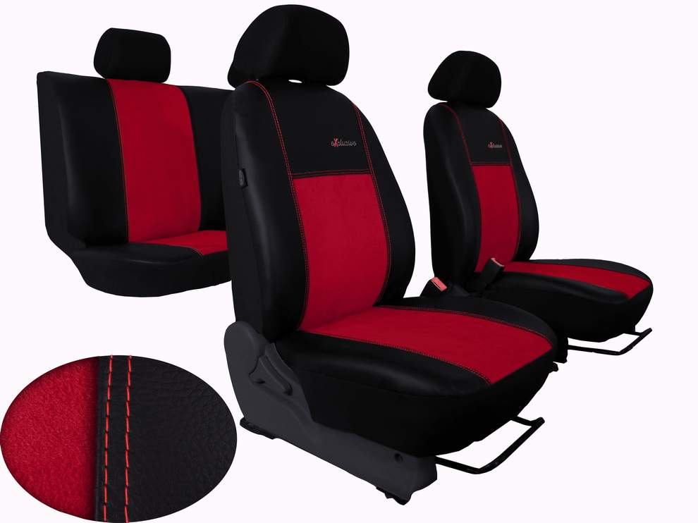 Autopotahy Peugeot Boxer II, 3 místa, stolek, EXCLUSIVE kožené s alcantarou, červené