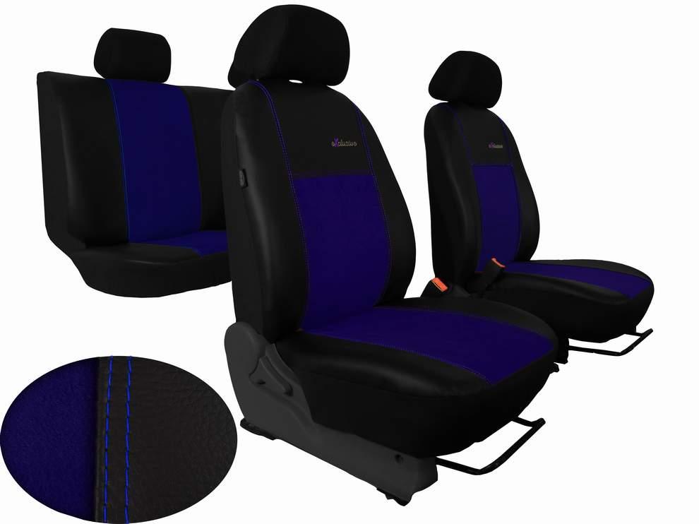 Autopotahy Peugeot Boxer II, 3 místa, stolek, EXCLUSIVE kožené s alcantarou, modré