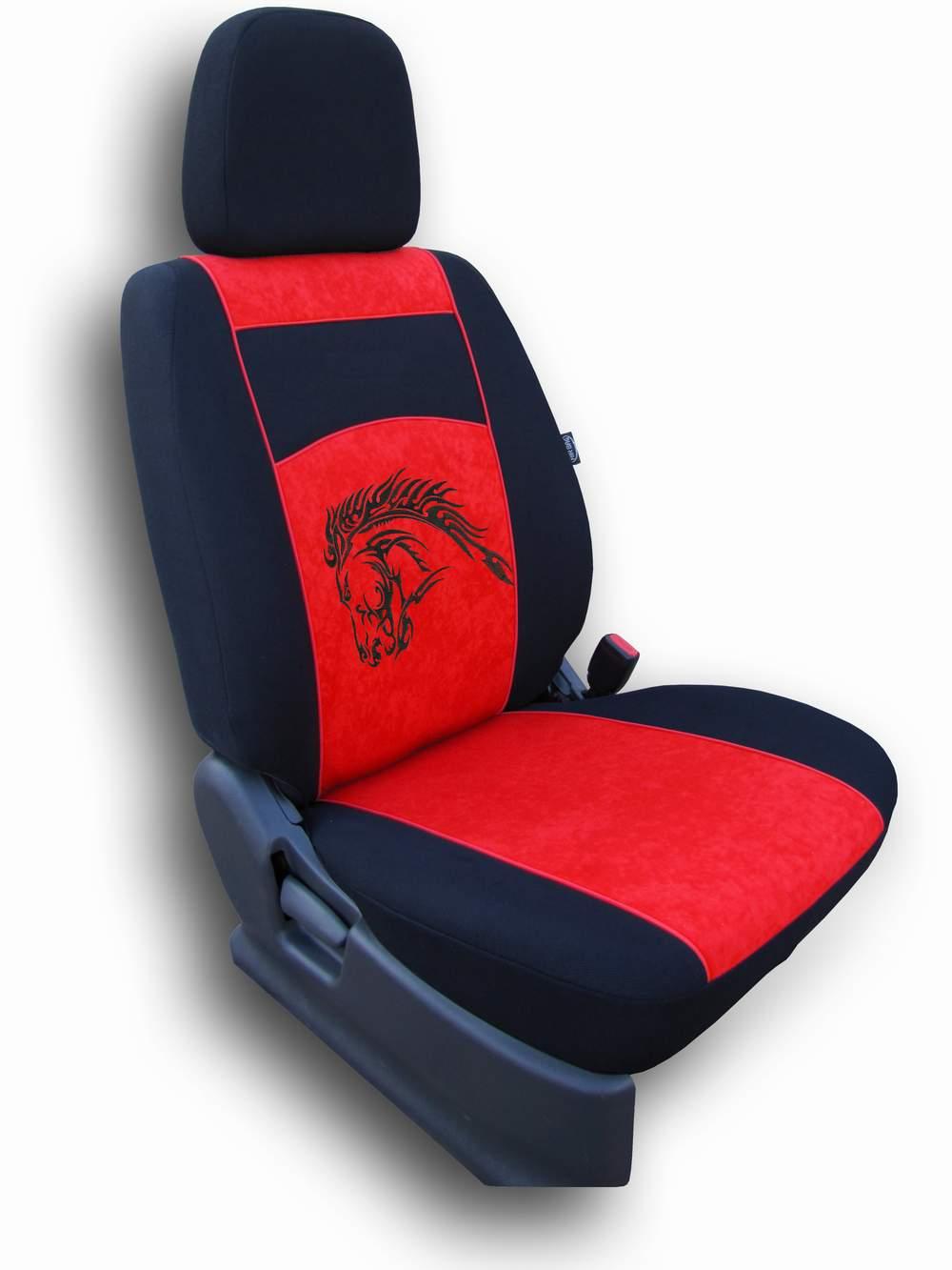 Autopotahy Mustang Alcantara červený
