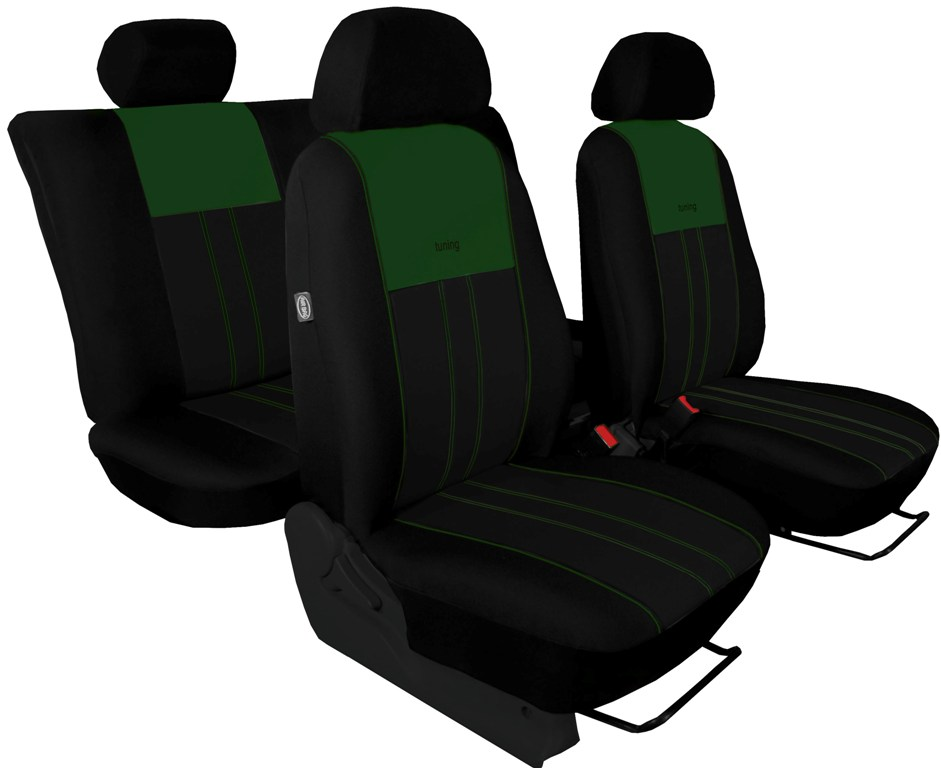 Autopotahy Škoda Octavia II, Tuning Duo, vzadu dělené, zadní loketní opěrka, zelenočerné