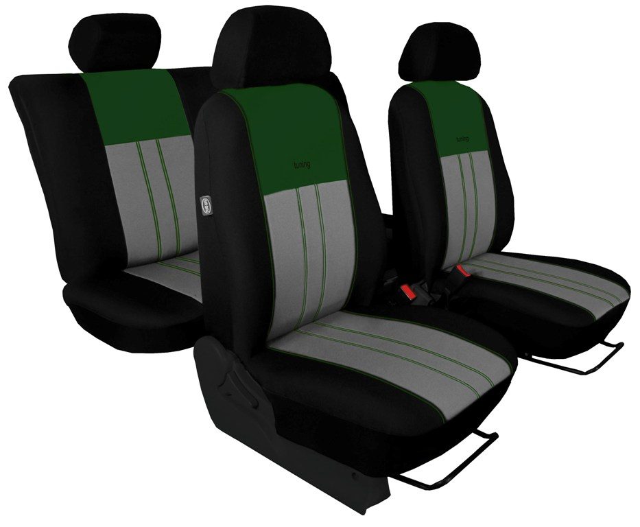 Autopotahy Škoda Octavia II, Tuning Duo, vzadu dělené, zadní loketní opěrka, zelenošedé