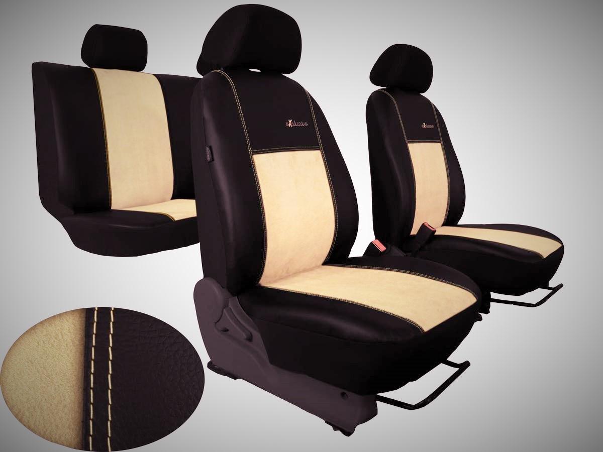 Autopotahy VW TIGUAN II COMFORTLINE, od r. v. 2016, EXCLUSIVE kůže a alcantara béžové