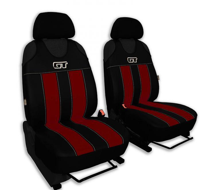 Autopotahy GT kožené, sada pro dvě sedadla, vínové