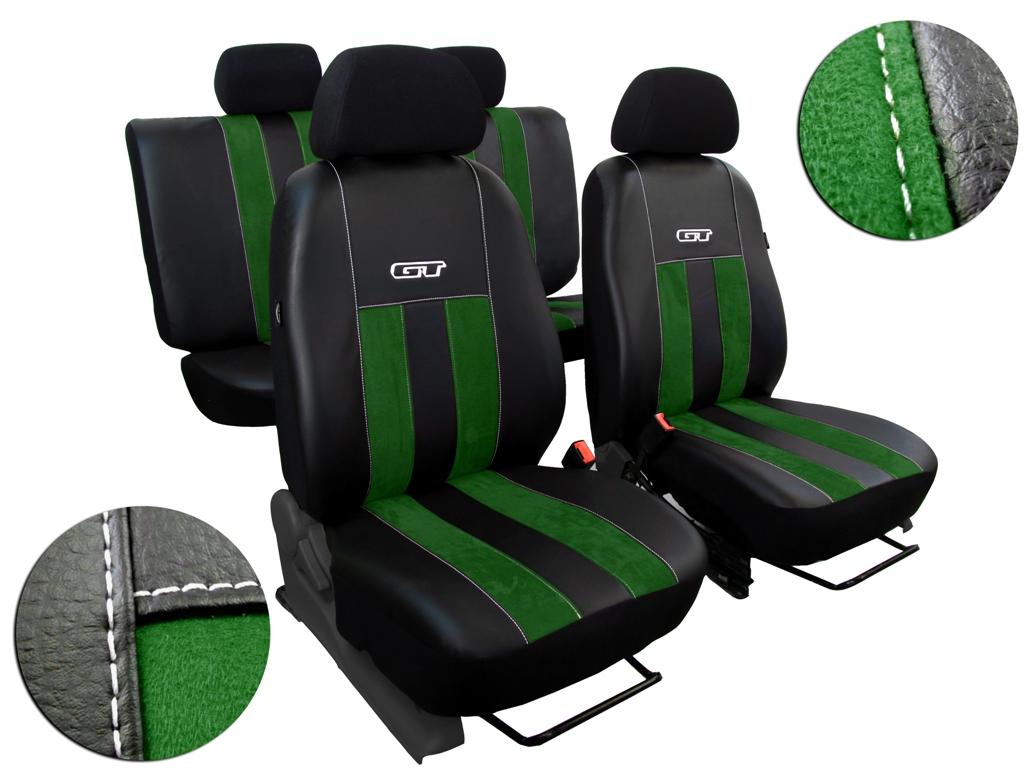 Autopotahy Škoda Rapid, kůže/alcantara GT zelené, děl. zadní op, bez zadní loketní opěrky