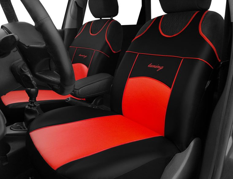 Autopotahy Autopotahy TUNING EXTREME KOŽENÉ, sada pro dvě sedadla, červené