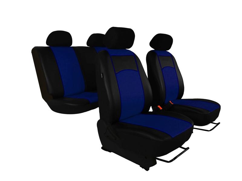 Autopotahy Škoda Octavia II, kožené Tuning, vzadu dělené, bez zadní loketní opěrky, modré