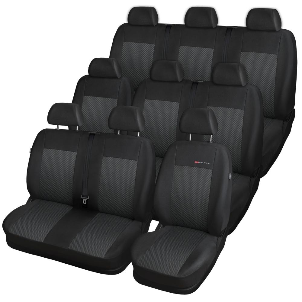 Autopotahy Volkswagen T5, 9 míst, 1+2+2+1+3, od r.2003, černé
