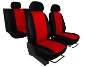 thumb Autopotahy Škoda Fabia II, kožené EMBOSSY, dělené zadní sedadla, červené